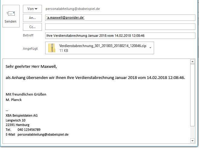 XBA PW-Mail - Beispiel E-Mail